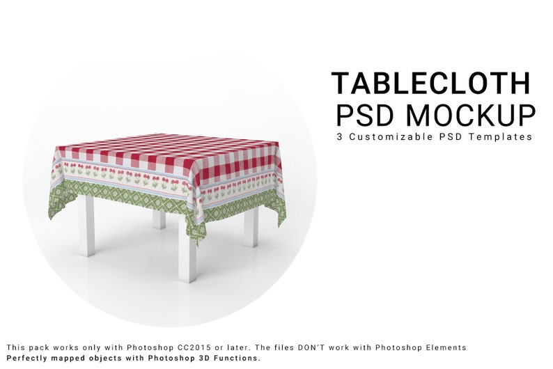 Tablecloth 3D Mockup | Table Cover | Kitchen Table | Dining room Textile  Mockup | Kitchen Textile Mockup | Kitchen Tablecloth