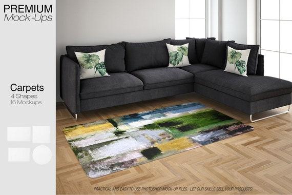 Rugs Mockup Carpet Living Room Carpets Round Rug | Etsy