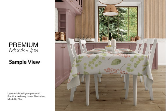 Tablecloth Mockup Table Cover Kitchen Table Dining Room Textile Mockup Kitchen Textile Mockup Kitchen Tablecloth