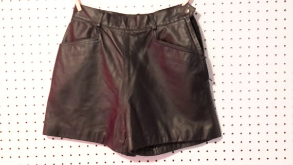 Wilson's  Black leather Side Zip Shorts
