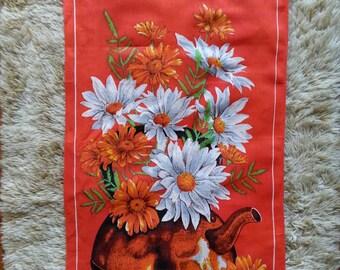 Red retro tea towel. Kitchen linen. Retro floral tea towel.