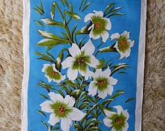 White Lillies Floral Tea Towel. Retro Irish Linen. 70's Retro Tea towel.