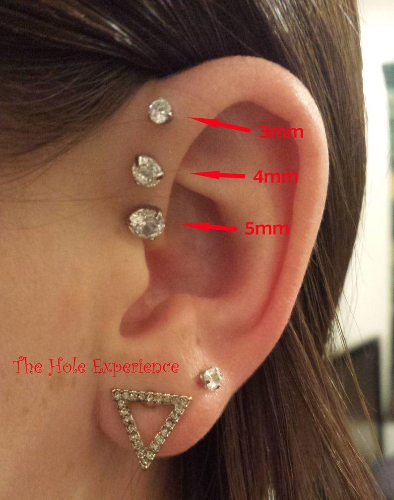 Forward Helix Earring Tragus Cartilage Earring 3 Prong Set Etsy