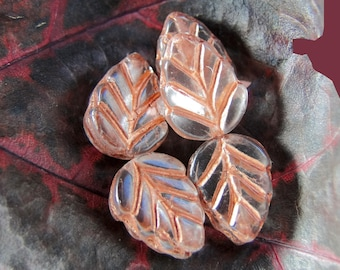 10 pearls of Bohemia - small leaf crystal copper finish - 11 mm in size