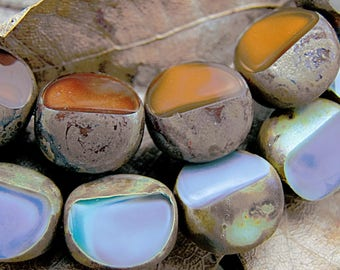 Earth tone! 5 gorgeous beads Bohemian 12 mm - 2 free form fresh green purple finishes