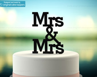 "Gay Lesbian Wedding Cake Topper - ""Mrs & Mrs"" - BLACK - OriginalCakeToppers"