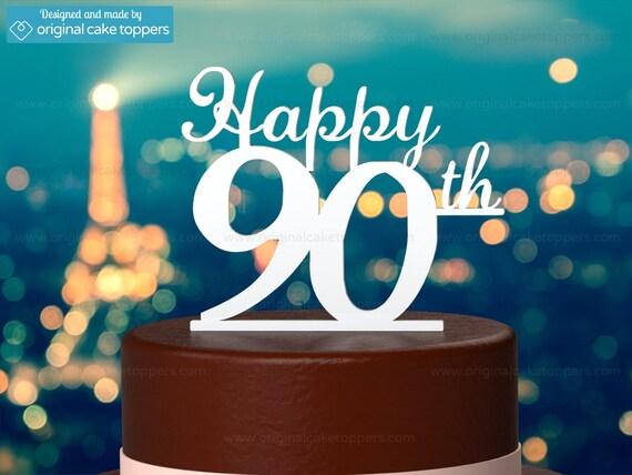 90th Birthday Cake Topper Happy WHITE