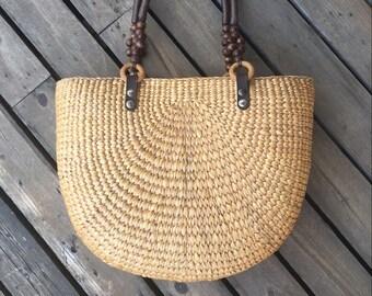 a87ec600508 GRAS women's Summer Water hyacinth half moon straw bag with soft handle women's  beach purse vacation bag wedding gift