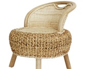 Vintage Wicker Rattan arm chair Lounge Balcony Arm Chair rattan Furniture Lounge Armchair curved rounded porch Chair