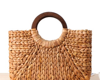 6cbf31e540c women's Summer rectangular straw bag with round ring handle beach purse  vacation bag mother's day gift, gifts for grandmothers