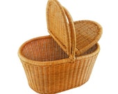 Large Rattan picnic basket with covers shopping bag kitchen storage food storage GrasShanghai Christmas gifts