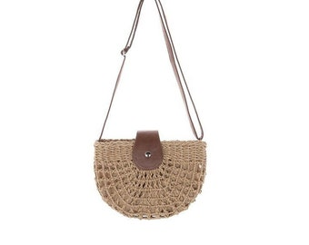 1a6034110ce Women's Long-strap half moon summer straw shoulder bag/Beach handbag/Bohemian  summer Tote bag/Woman's vacation Purse/straw shoulderbag