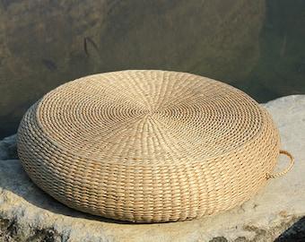 Straw round floor cushion with handle/ Floor pouf and ottoman/Wholesales bulk/meditation cushion/wedding gift/meditation pillow/GrasShanghai