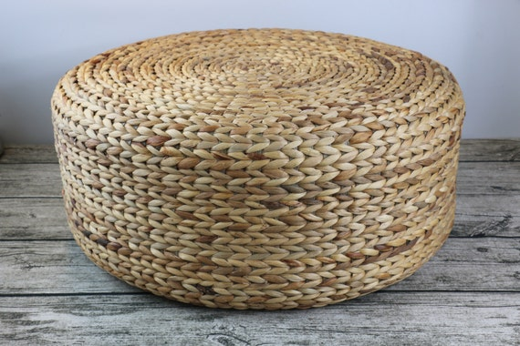 Round rustic floor cushions//floor pouf//Straw pouf//Pouf ottoman//Meditation//Yoga