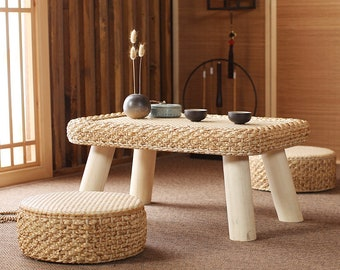 TABLE SET: rectangular low wood table plus two cushions tea table tatami table Country decor wedding gift Christmas gifts
