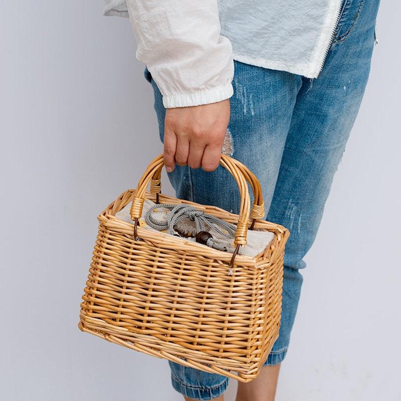 Frauen Sommer rechteckige und Eimer Weiden GeldbörseStrand Weiden HandtascheBoho EinkaufstascheFrau Urlaub Geldbörse Hochzeitsgeschenk