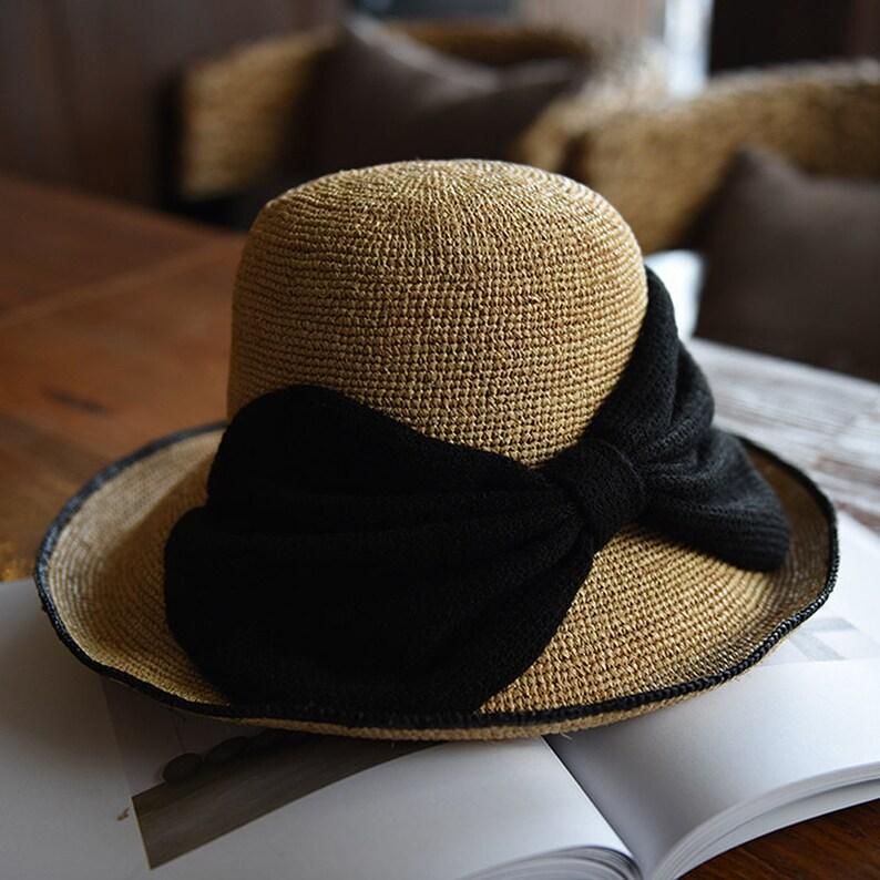 f0de66aff GRAS women's foldable summer straw visor with black bow tie wide brim straw  hat gardening hat vintage beach hat sun straw hat
