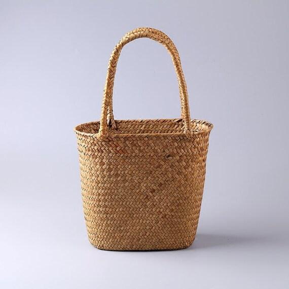 Damen Retro einfache Wassergras gewebt Handtasche Strand Sommer Stroh TascheBoho EinkaufstascheFrau Urlaub GeldbörseHochzeitsgeschenk