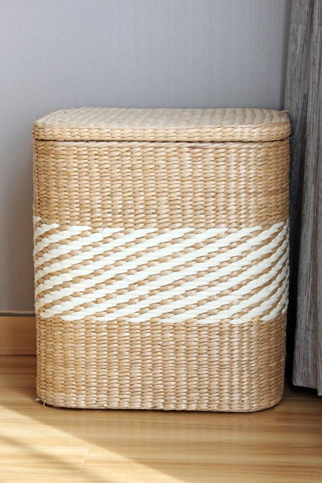 Handwoven Square Storage Baskets/rustic Home Decor/Wholesales Bulk/green  Furniture/ Straw Basket/wedding Gift/GrasShanghai