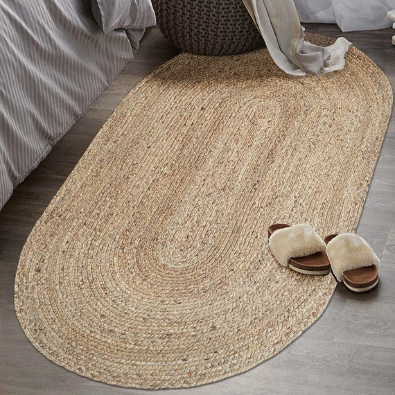 Custom Oval Brown Woven Seagrass Rug, Round Straw Rattan Rug
