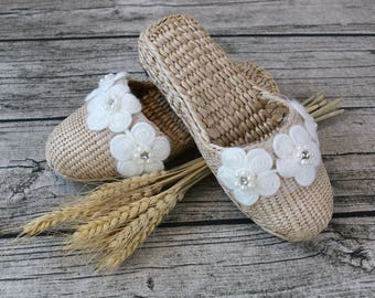 Women's Exquisite Women's slippers with white cotton flower decor/rustic handwoven shoes/wedding gift/house shoes/GrasShanghai
