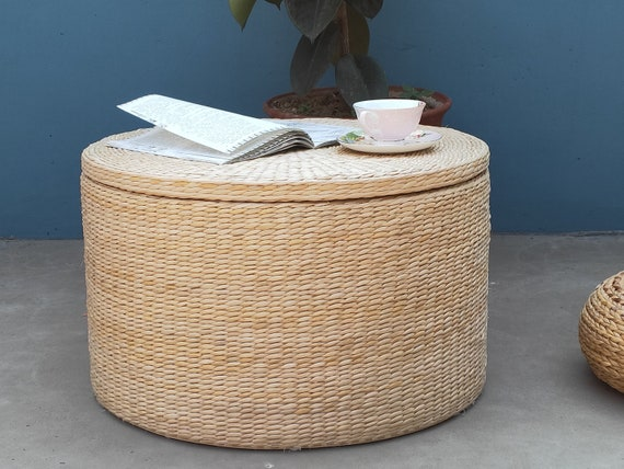 Round Beige Storage Coffee Table Straw Tea Table Beige Dinning Etsy