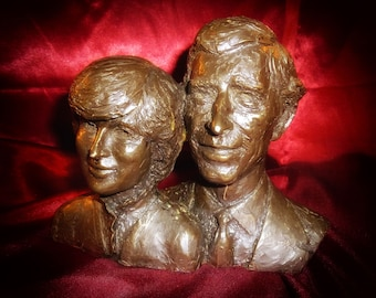 Charles & Diana Royal Engagement Bronze Bust SCULPTURE Limited Edition RARE HEREDITIES