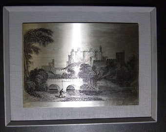 Vintage ALNWICK CASTLE Northumberland - Steel etched picture by Omicways Ltd - Retro wall plaque
