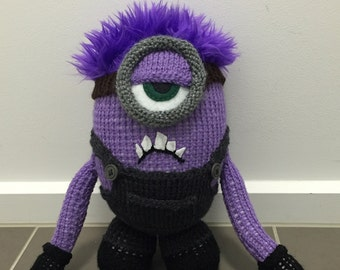 Crazy Purple Minion Knitting Pattern PDF
