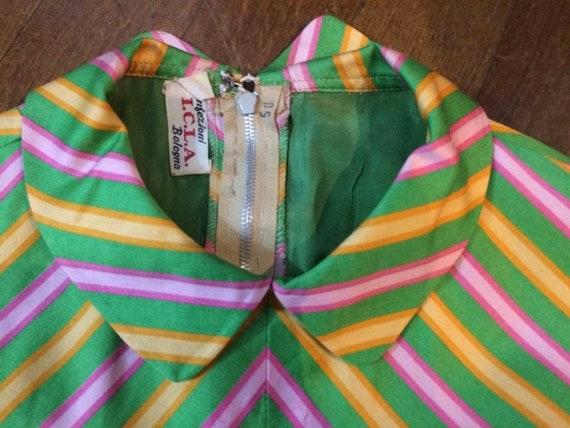 60s Striped Peter Pan Collar Dress - image 3