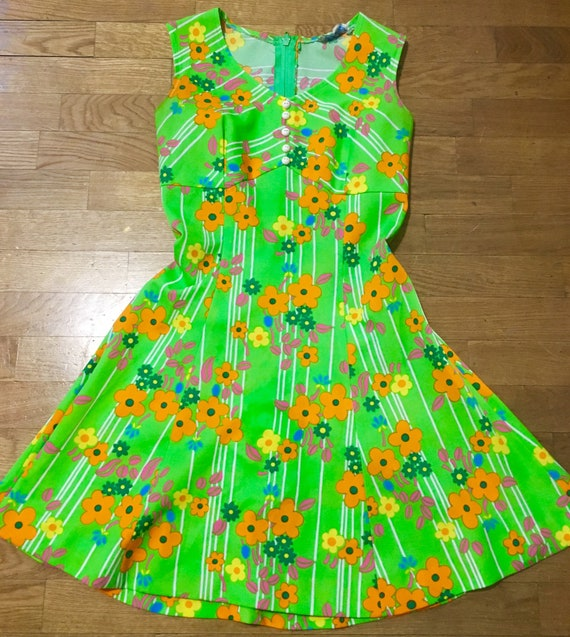 60s psych floral dress
