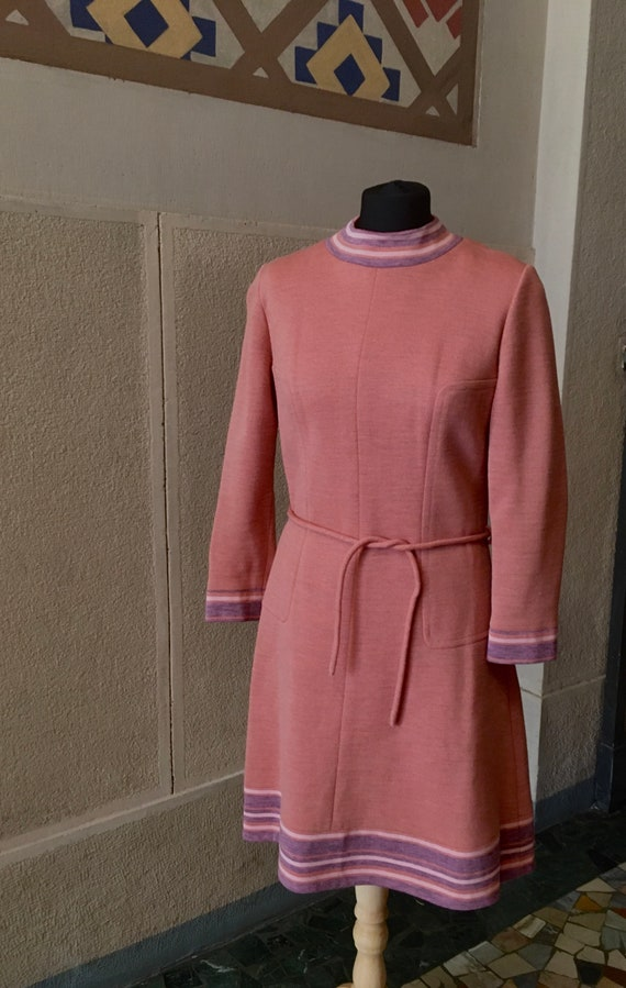 Stunning 1960s Space Age Wool Dress - image 2