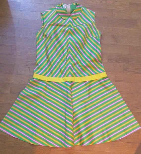 60s Striped Peter Pan Collar Dress