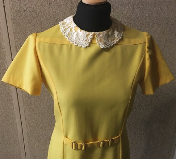 Original 60s Bright Yellow Peter Pan collar dress - image 2