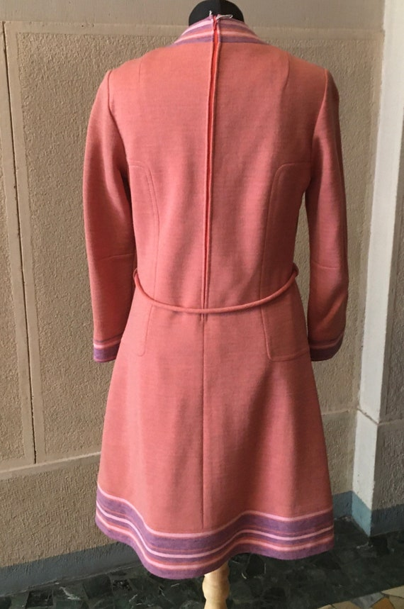 Stunning 1960s Space Age Wool Dress - image 4