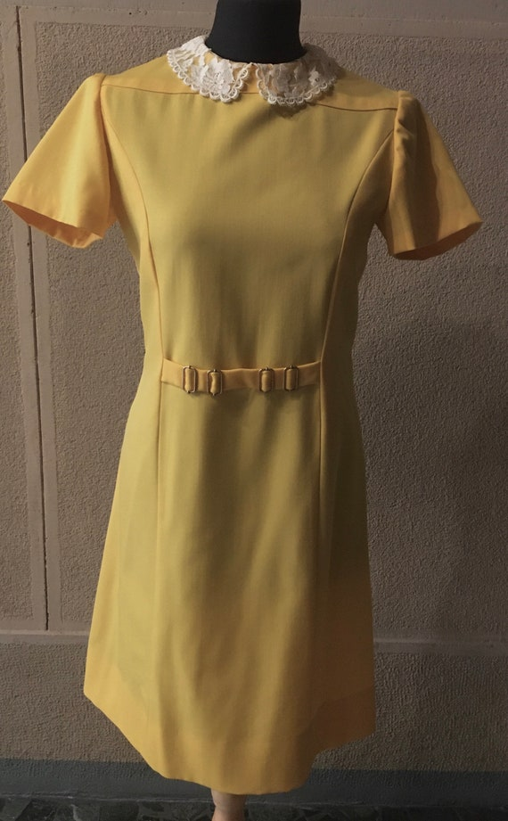 Original 60s Bright Yellow Peter Pan collar dress - image 1