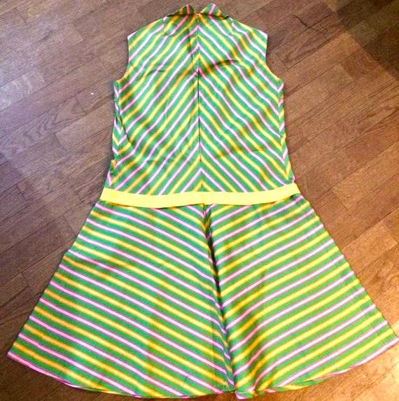 60s Striped Peter Pan Collar Dress - image 4
