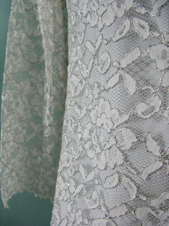 60s Space Age Mod Lace Silver Dress - image 2