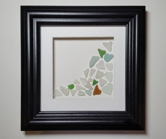Sea Glass Hearts Romantic Framed Wall Art Personalised Gift. | Etsy
