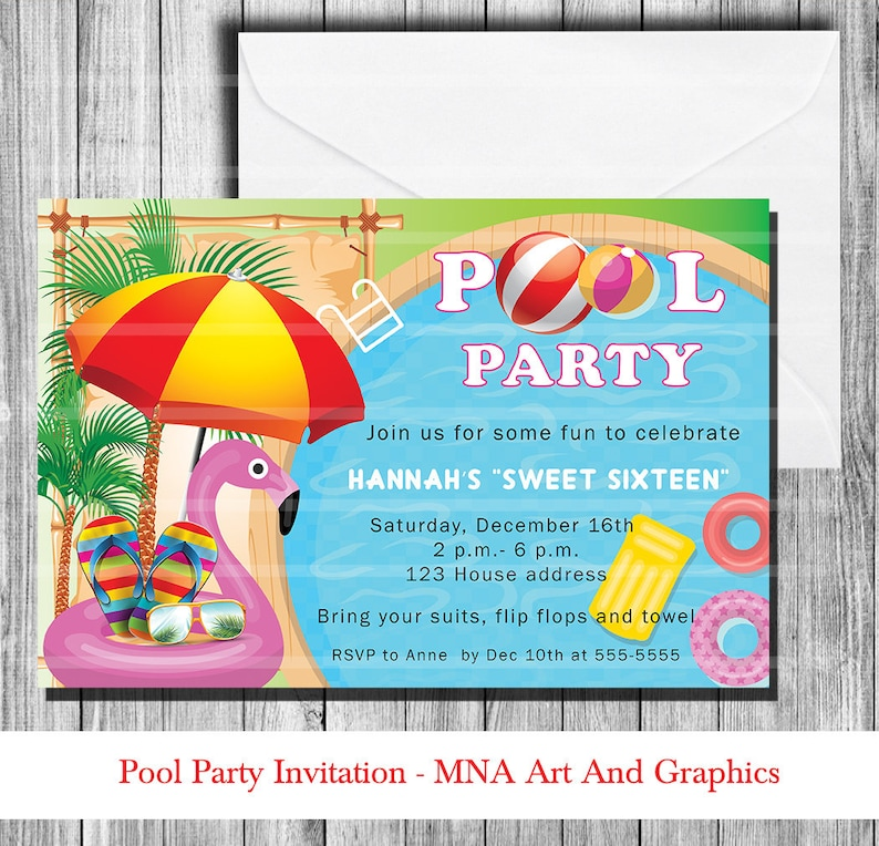 POOL PARTY Sweet Sixteen Birthday Party Invitation Pool