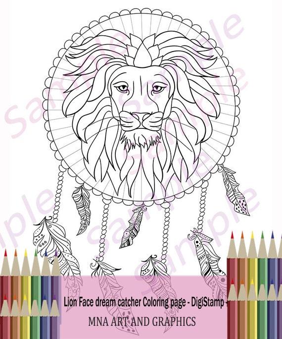 Cara de León en dreamcatcher adultos colorear página página | Etsy