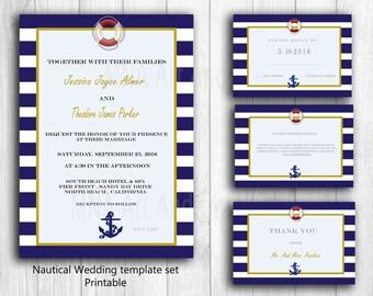 Nautical Personalized Wedding Invitation Template Anchor Wedding DIY Invitation Template Set - Printable Nautical wedding invites