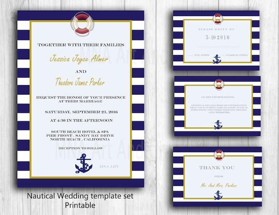 Nautical Personalized Wedding Invitation Template Anchor   Etsy