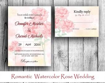 Wedding Invitation Set - Romantic  Watercolor Rose Invitation And RSVP Set PRINTABLE
