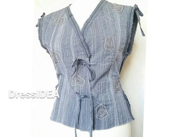 Boho Clothing Denim Look Vest Top Womens Embroidered Clothes Handmade One of a Kind