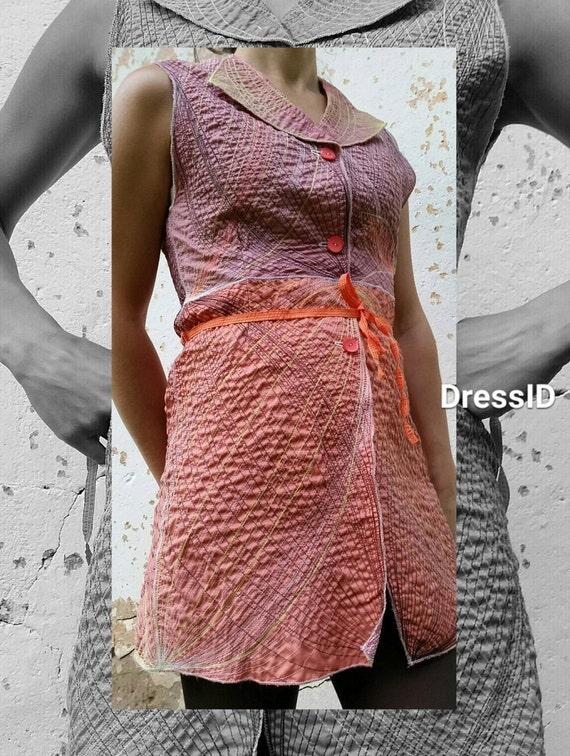 Cool Unique Womens Minidress Sleeveless Pink Bohemian Art Designer Vest Mini Embroidered Dress Clothes Long BnzxPtZx
