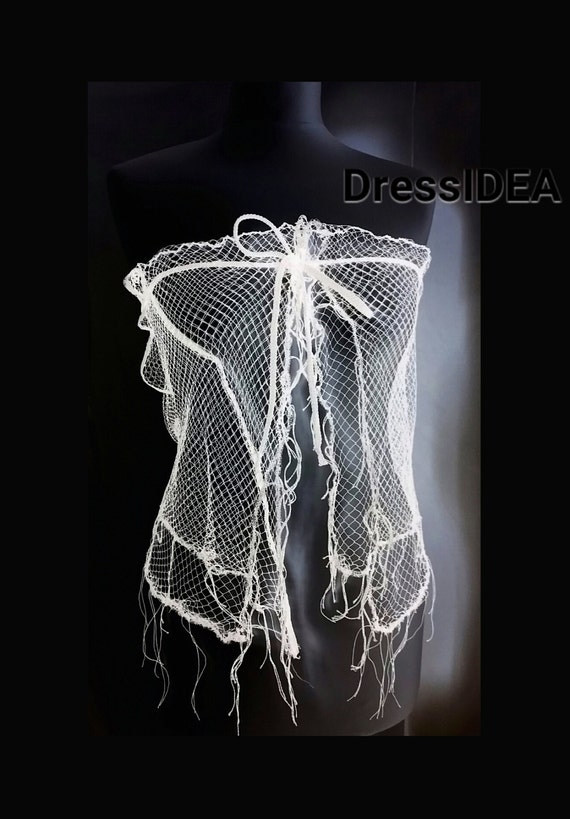 Crop Wedding Gift Wife Costume Fishnet Top Beach Sheer Lace White up See Separates Top Clothes Tie Mermaid Bridal Through wTExZU0