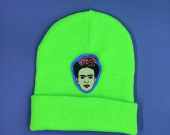 Beanie with costumized Patch - neon green