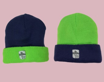 Ch ch ch changing beanie neon green - dark purple