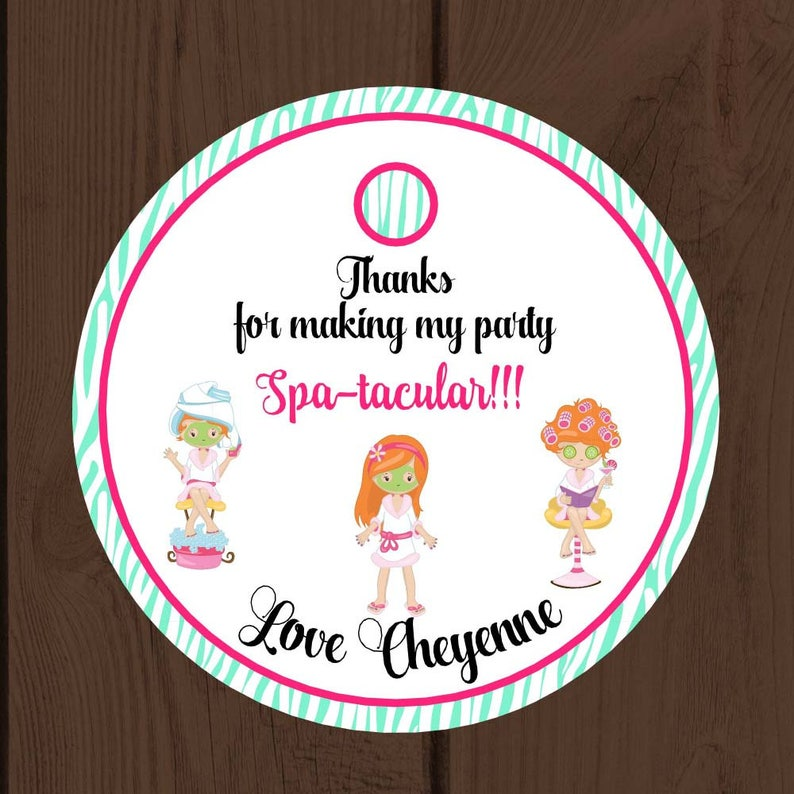 Spa Party Thank You Tags  Spa Party Bag Tags Personalized Digital Printable File